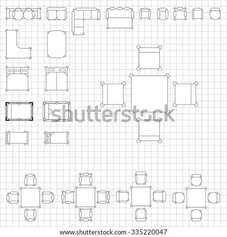 Set simple 2 d flat vector icons stock vector 335220047 shutterstock set of simple 2d flat vector icons furniture for floor plan outline on blueprint technical grid malvernweather Choice Image