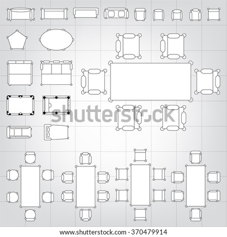 Set simple 2d flat vector icons stock vector 370479914 shutterstock set of simple 2d flat vector icons furniture for floor plan outline on blueprint technical grid malvernweather Choice Image