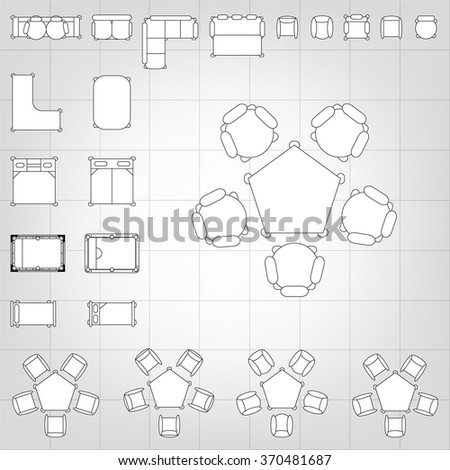 Set simple 2 d flat vector icons stock vector 370481687 shutterstock set of simple 2d flat vector icons furniture for floor plan outline on blueprint technical grid malvernweather Choice Image