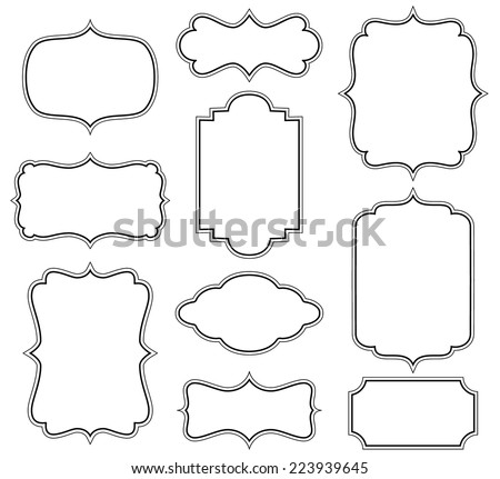 Set of simple decorative frames - stock vector