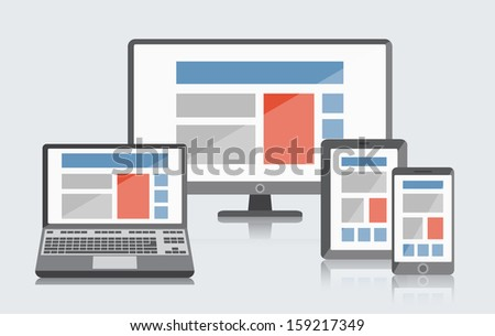 Set of simple devices for website demonstration. ESP10 vector. - stock vector