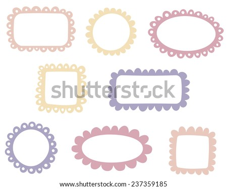Set of simple doodle frames - stock vector