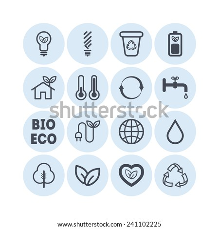 Set of simple ecology icons - stock vector