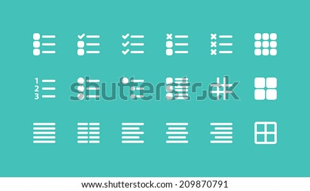 Set of Simple Editing and formatting Tab bar icons for web, mobile and devices - stock vector