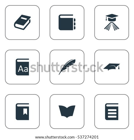 Set Of 9 Simple Education Icons. Can Be Found Such Elements As Plume, Academic Cap, Graduation Hat And Other.