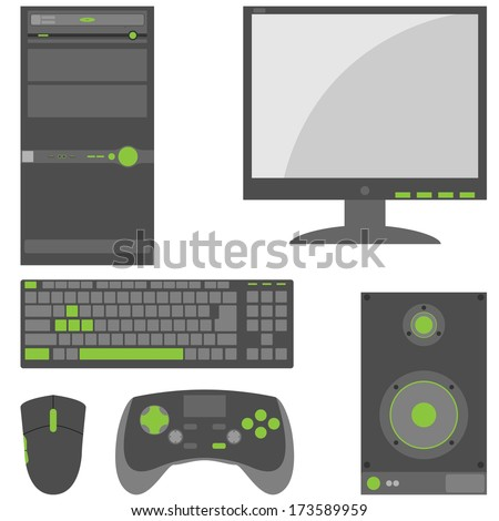Set of simple, external computer peripheral parts in gray and green colors. - stock vector