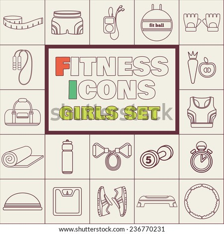 Set of simple fitness thin line icons for girls. Vector illustration of sport symbols in flat style on squares background - stock vector