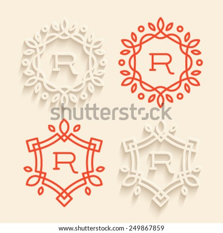 Set of simple floral monogram designs with beautiful flat shadow effect. - stock vector