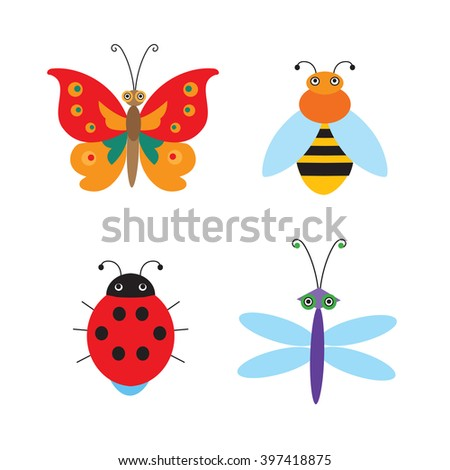 Set Of Simple Flying Bugs. Vector Ladybug. Vector Dragonfly. Vector Butterfly. Vector Bee. Cartoon Bugs For Children. Insects Vector For Kids. - stock vector