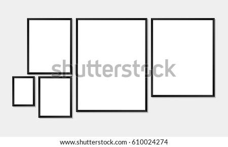Set Simple Frames Mockups Poster Photo Vector de stock610024274 ...