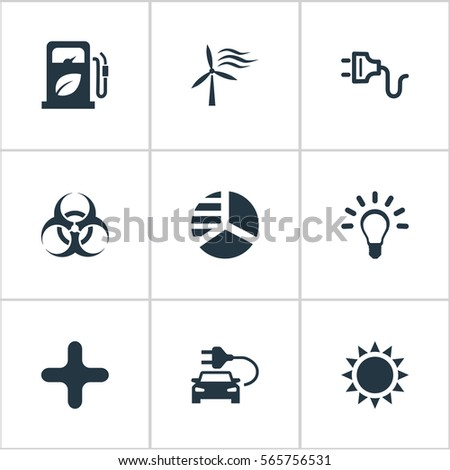 Set 9 Simple Green Energy Icons Stock Vector 565756531 Shutterstock