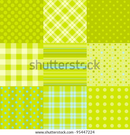 Set of simple green patterns: polka dot, scottish plaid and other. Can be used as textile, paper pattern or digital scrap-booking