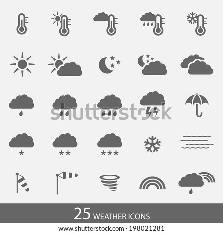Set of 25 simple grey weather icons with white background in vector format