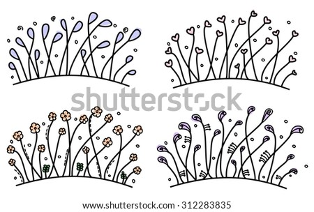 Set of simple hand drawn floral borders - stock vector