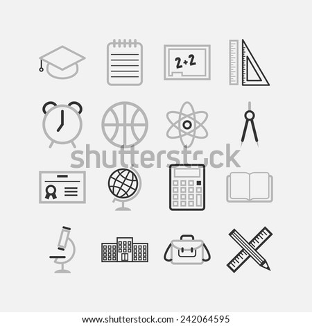 Set of simple icons for school and education - stock vector