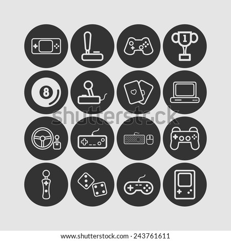 Set of simple icons for video games, controllers, web and applications - stock vector