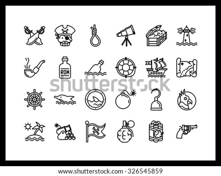 Set of simple icons in a modern style. Pirates in search of dangerous adventures and treasures. - stock vector