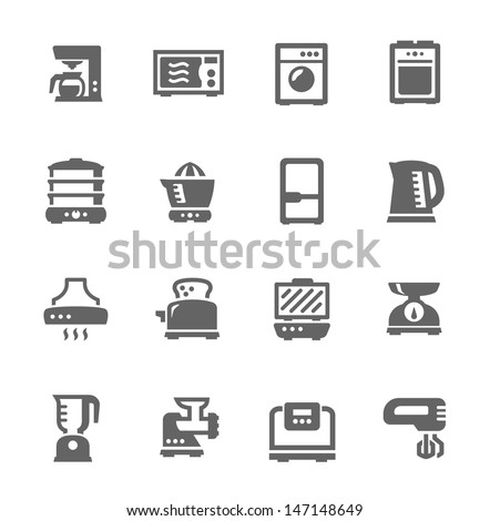 Set of Simple icons related to kitchen. - stock vector