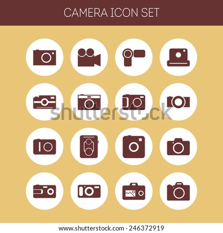 Set of simple icons with cameras for web design, sites, applications and games