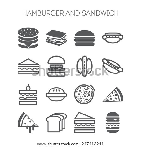 Set of simple icons with hamburgers, sandwiches and pizza  for web design, sites, menu, restaurants, applications and stickers - stock vector