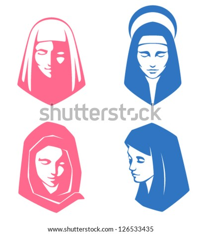 set of simple illustrations of spiritual women - stock vector