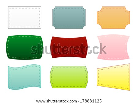 Set of 9 simple isolated labels in different colors - stock vector