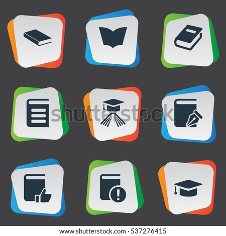 Set Of 9 Simple Knowledge Icons. Can Be Found Such Elements As Academic Cap, Important Reading, Recommended Reading And Other.