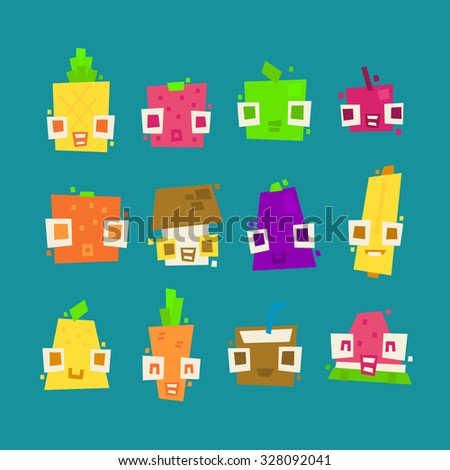 set of simple minimal flat fruit characters for use in design - stock vector