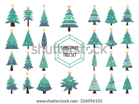 Set of simple modern flat christmas pine trees with holiday ornaments and star on top. Ideal for creating your own xmas design, web or app. EPS10 vector. - stock vector