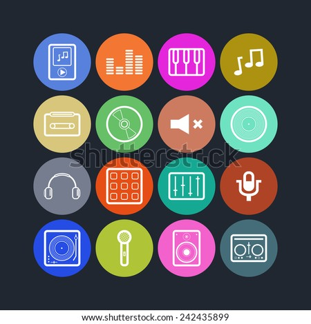 Set of simple musical icons
