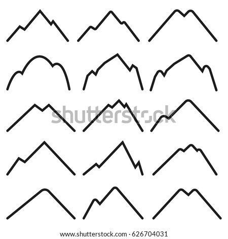 set of simple outline mountain logo or symbol isolated on white background - Simple Outline Pictures