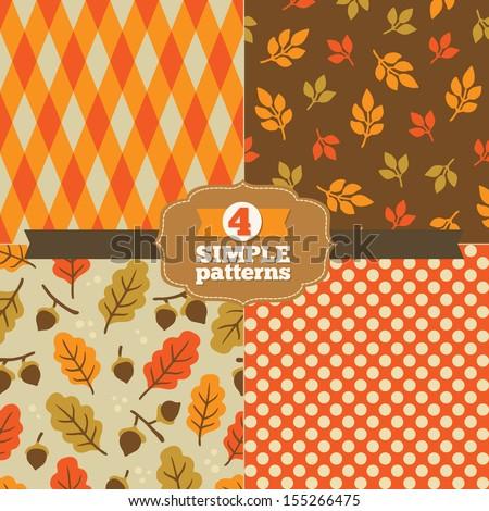 Set of simple patterns in one palette (orange, red-orange, olive, brown, beige) - stock vector