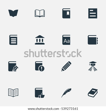 Set Of 16 Simple Reading Icons. Can Be Found Such Elements As Journal, Reading, Important Reading And Other.