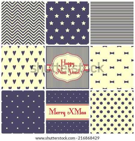 Set of simple retro Christmas patterns - hearts, stars, bows, stripes,  dots, zigzag. Happy New Year backgrounds. Vector cards for winter holidays.