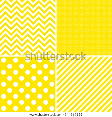 Set of simple retro Christmas patterns in yellow tones - stock vector