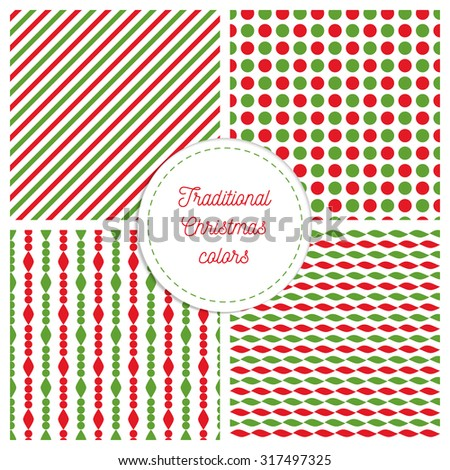 Set of simple retro geometric Christmas patterns. Traditional colors background. Vector garland endless textures can be used for printing onto fabric and paper. Lines and circles. - stock vector
