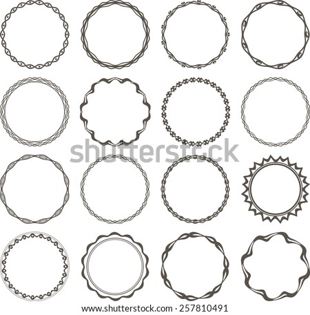 Set of 16 simple round frames. - stock vector