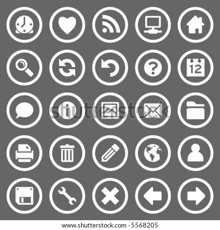 Set of 25 simple round web icons on gray background - stock vector
