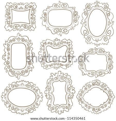 Set of simple scroll labels. Vector illustration with design elements. - stock vector