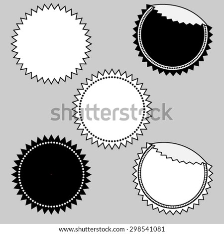 Set of simple seal, stamp, sticker, tag, label, badge in black and white - stock vector