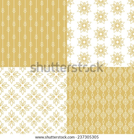 Set of simple seamless gold floral patterns. Vector illustration.