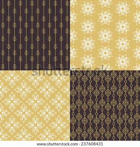 Set of simple seamless gold patterns. Vector illustration.