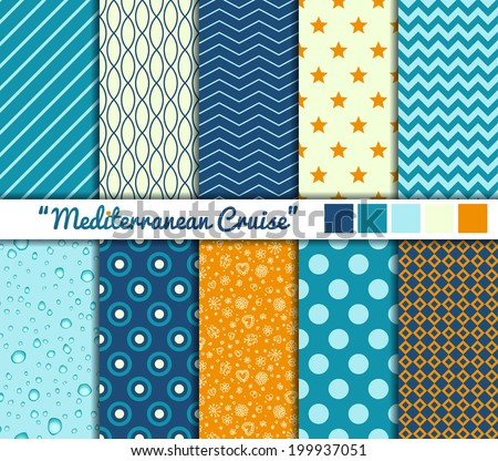 "Set of 10 simple seamless patterns. ""Mediterranean Cruise"" color palette. - stock vector"