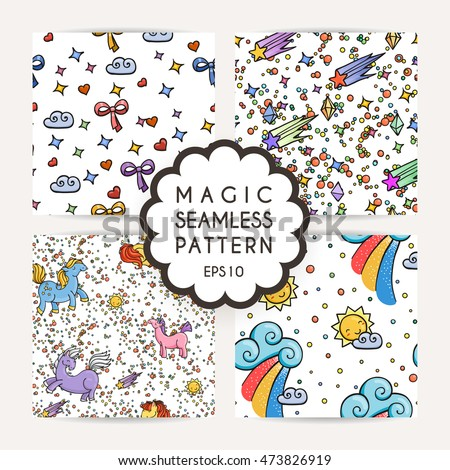 Set of simple seamless patterns with hand drawn elements: stars, dots, gems, comets, clouds. Rainbow and unicorns.