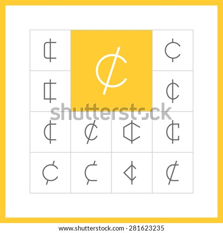 Set of simple thin line cent icons. Centavo, santim or centas sign, money pictogram, finance button, banking design. Vector illustration - stock vector