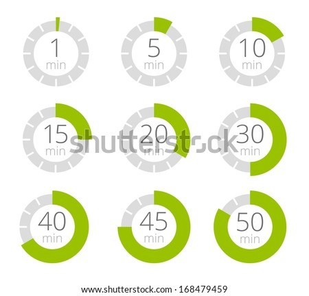 Set of simple timers. Set of nine elements. - stock vector