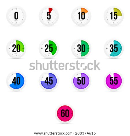 Set of simple timers. Set of thirteen elements. - stock vector