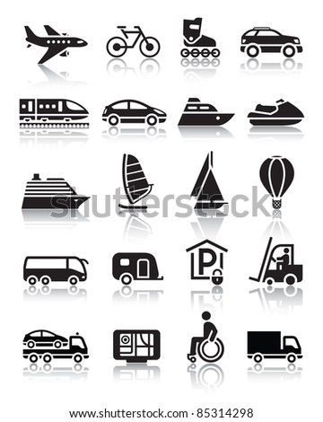 Set of simple transport icons with reflection - stock vector