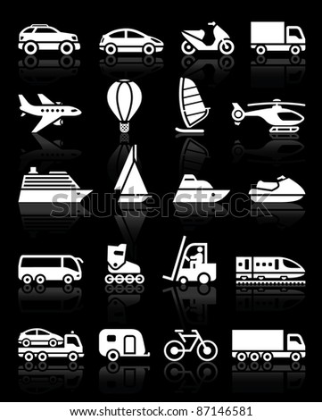 Set of simple transport icons with reflection, black background - stock vector