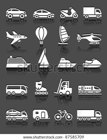 Set of simple transport icons with reflection, gray background - stock vector